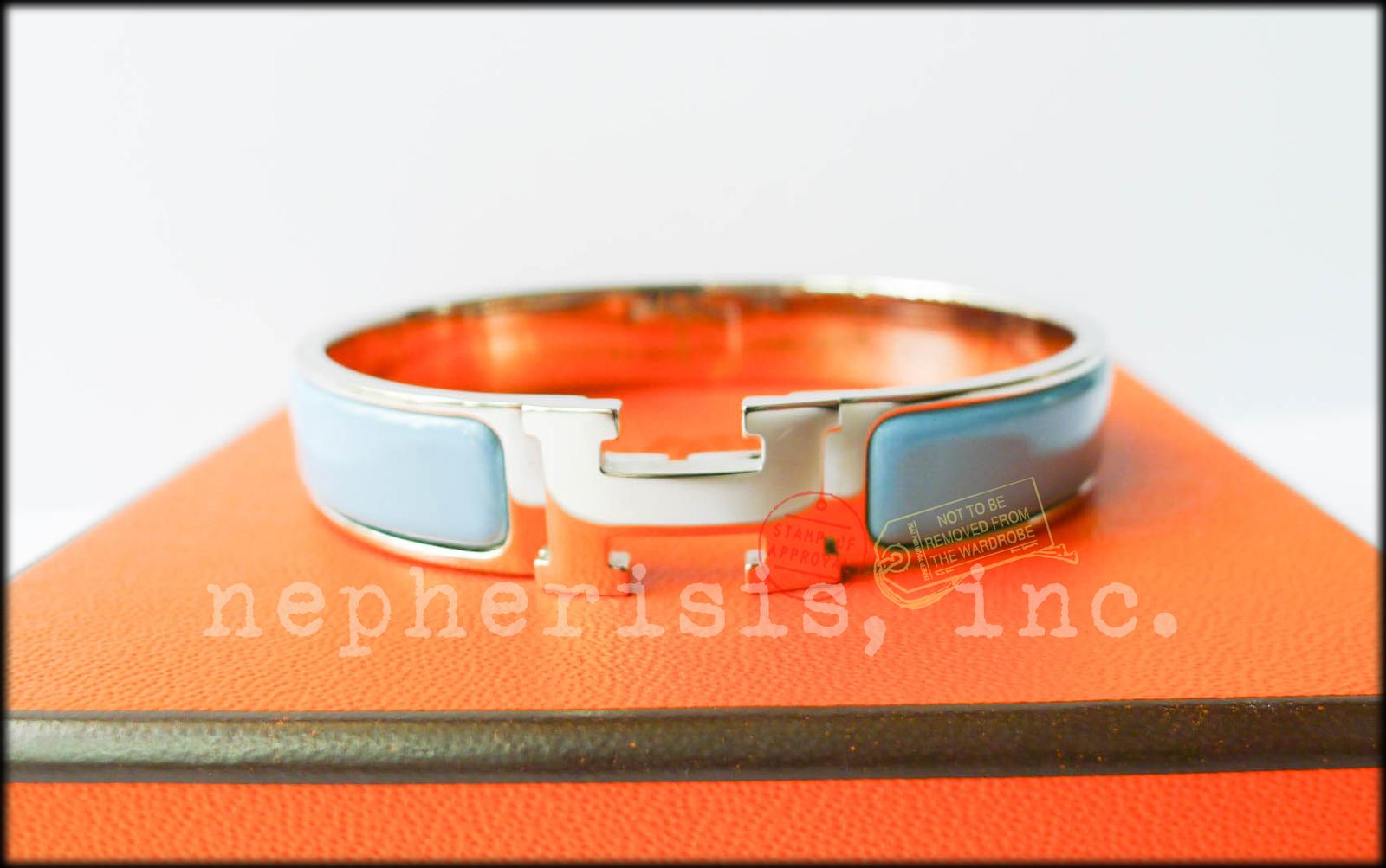 AUTH BNIB Hermes CLIC CLAC H Enamel Narrow Bangle or Bracelet BLUE JEAN with PHW