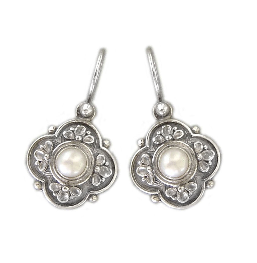 Primary image for  Gerochristo 1181 -  Sterling Silver & Pearls Medieval-Byzantine Earrings