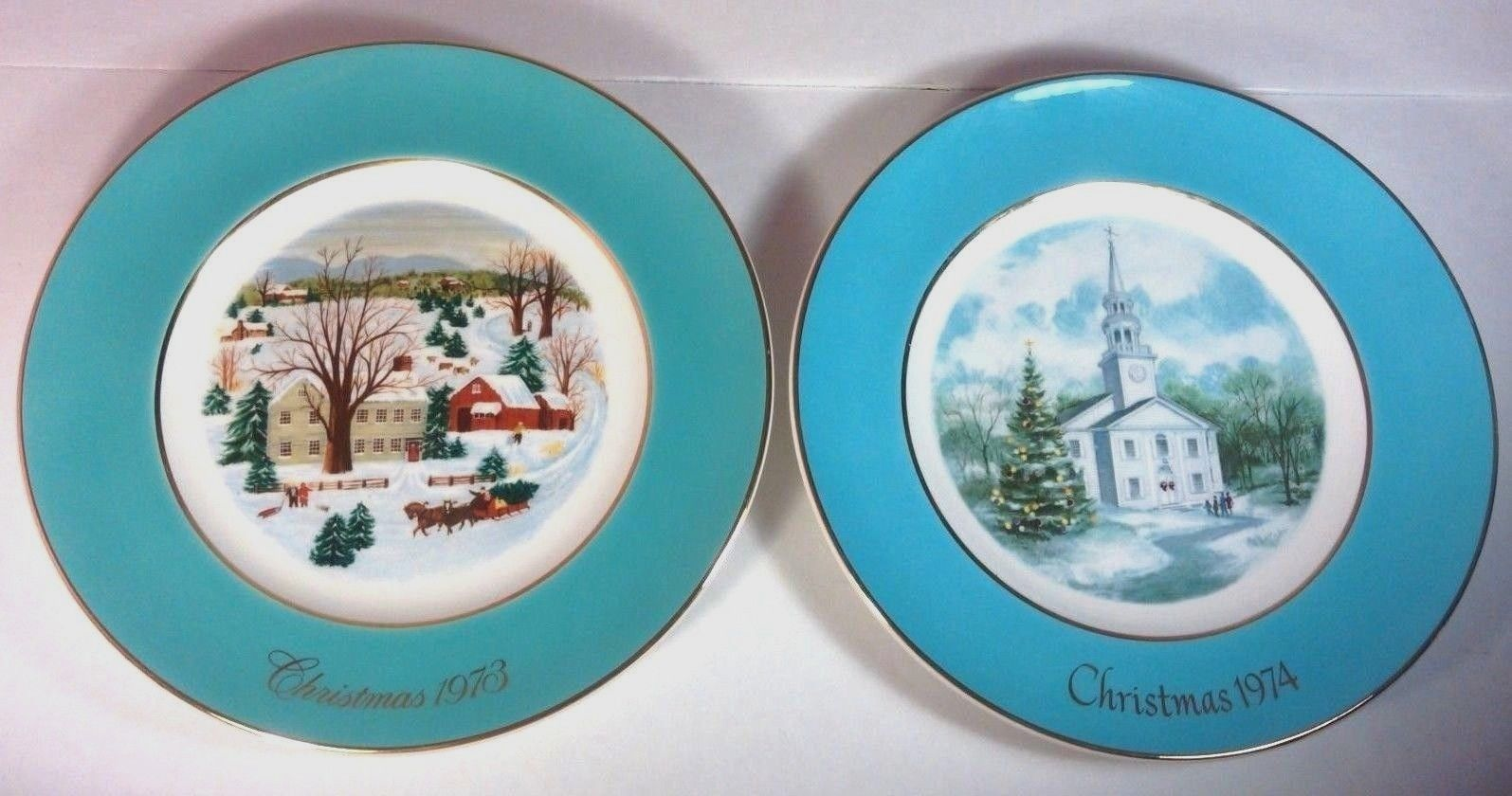 Vintage Lot of 1973 & 1974 Avon Christmas Plates