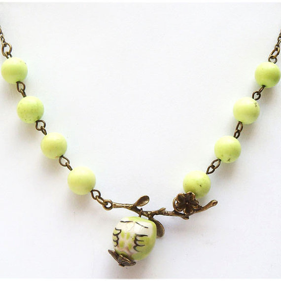 Antiqued Brass Leaf Gaspeite Porcelain Owl Necklace