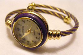 Geneva  Purple And Gold Twisted Cable Wire Wrap White Face Band Wristwatch - $13.75