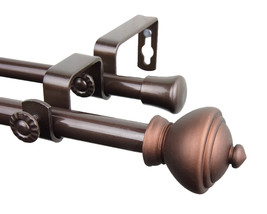 Rod Desyne Home Window Decorative Savannah Double Curtain Rod 28-48 inch - Cocoa - $54.72