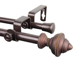 Rod Desyne Home Window Decorative Palace Double Curtain Rod 84-120 inch - Cocoa - $68.85