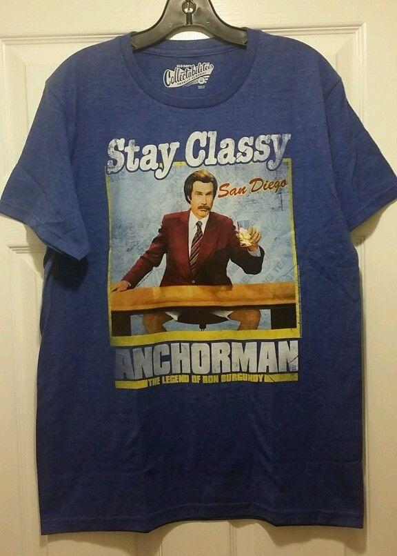 New anchorman legend of ron burgundy stay classy san diego for Adult medium t shirt