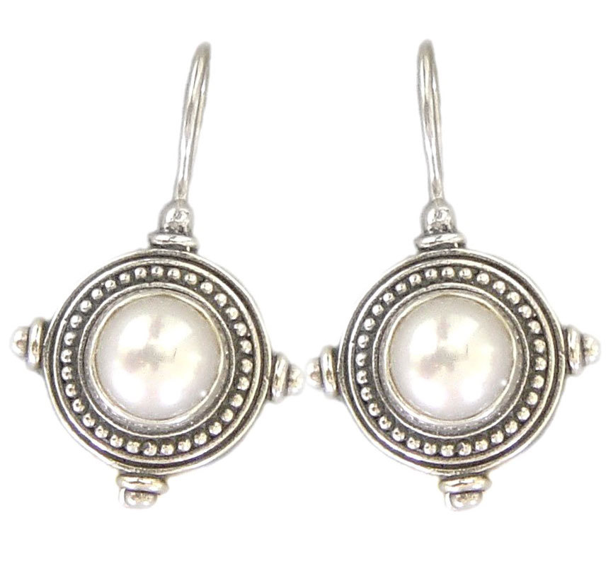 Primary image for Gerochristo 1245 -  Sterling Silver & Pearl Medieval-Byzantine Earrings