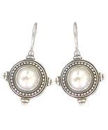 Gerochristo 1245 -  Sterling Silver & Pearl Medieval-Byzantine Earrings  - $160.00