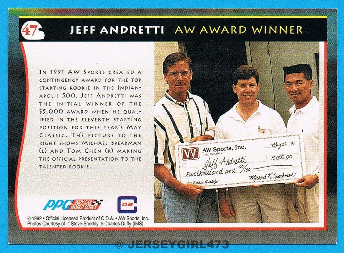 Jeff Andretti 1992 AW Sports Racing Card #47