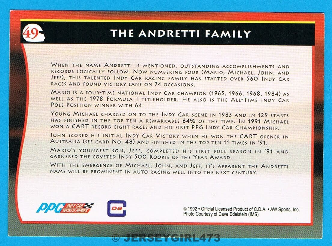 The Andretti Family 1992 AW Sports Racing Card #49