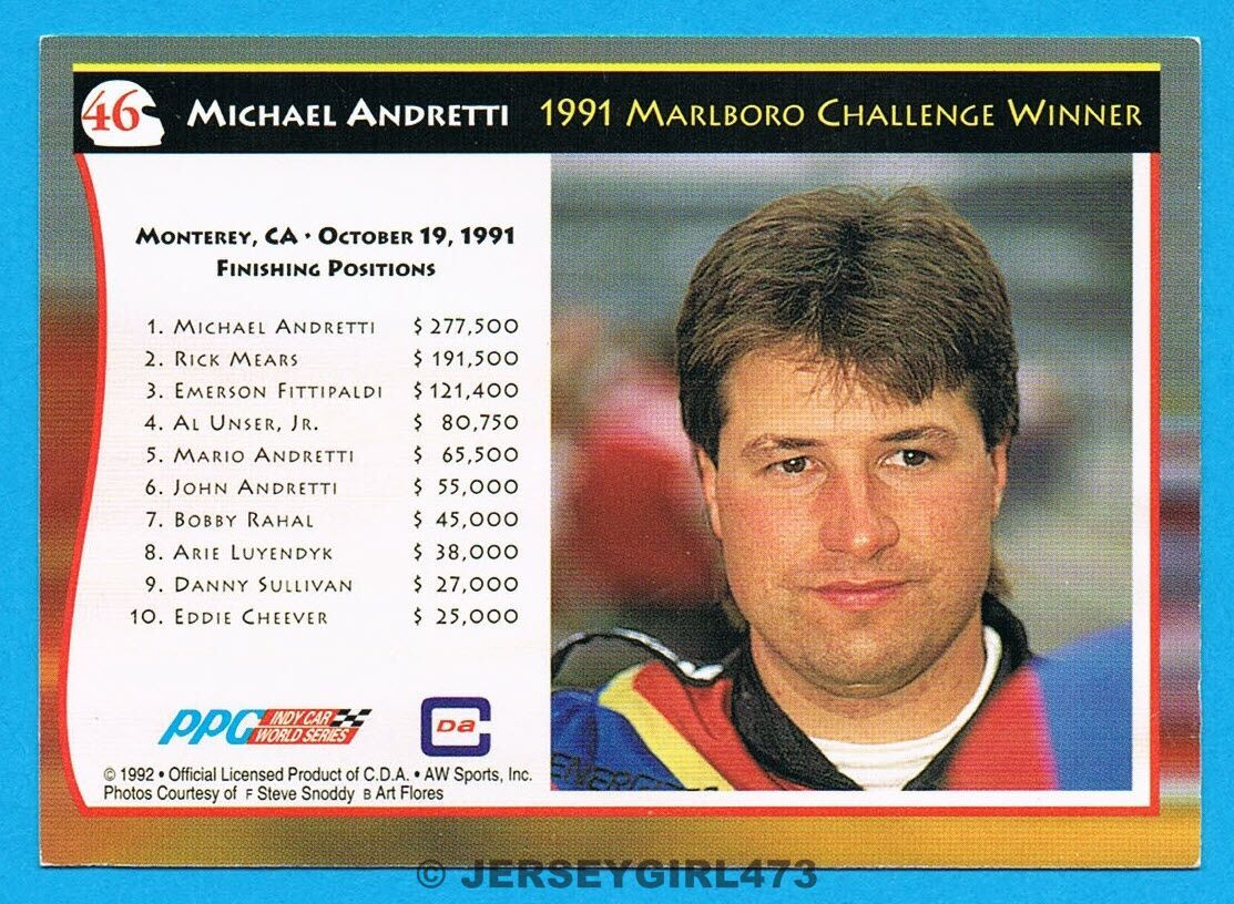 Michael Andretti 1992 AW Sports Racing Card #46