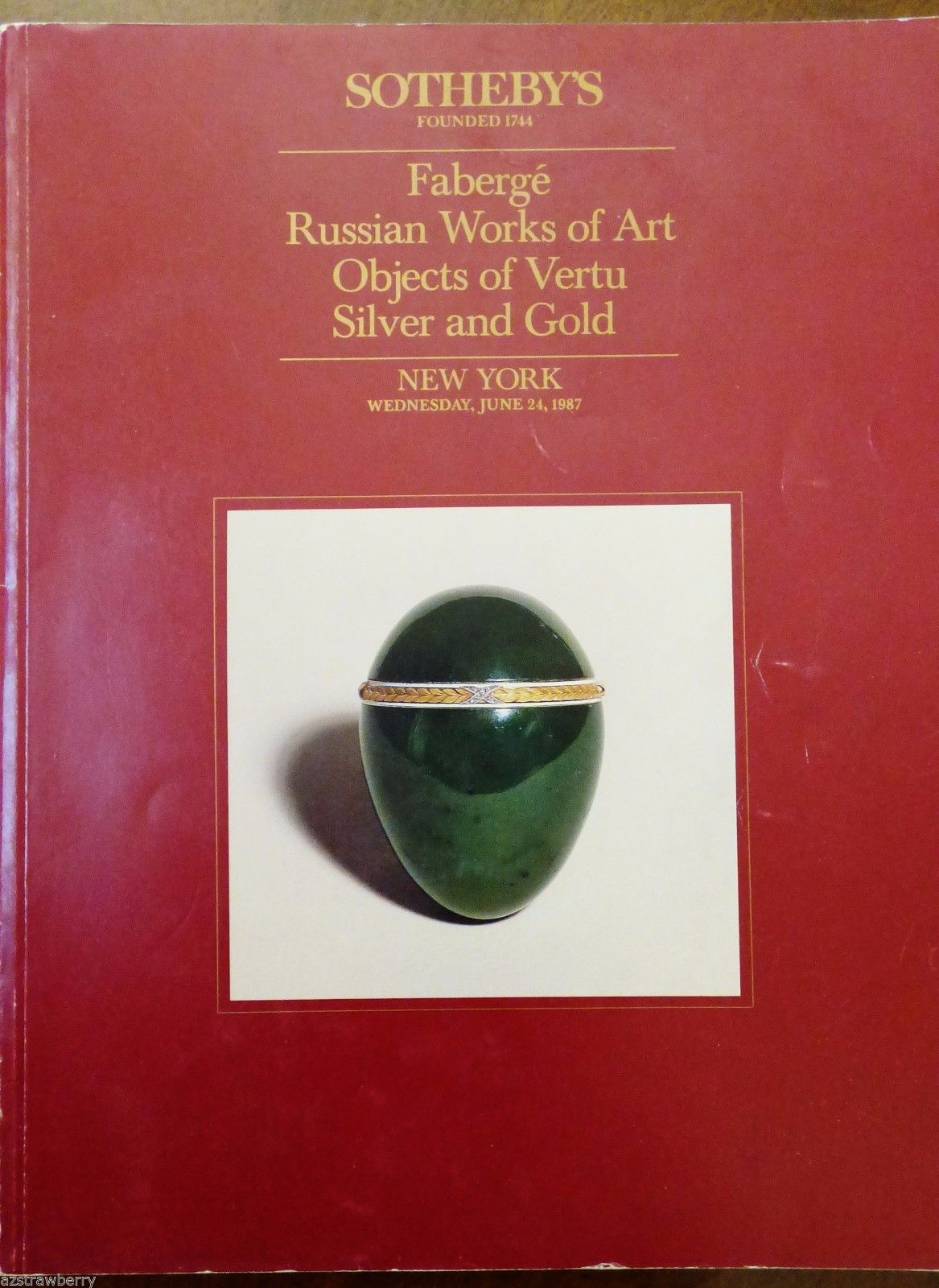 1987 Sotheby's Catalog Faberge Russian Works of Art Objects of Vertu Silver Gold