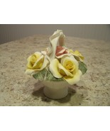 Nice Vintage Nuova Capodimonte Italy Yellow / Pink Roses in Basket with ... - $33.66