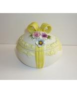 Lefton Easter Egg Trinket Box Porcelain Bisque Vintage Figural Flowers Bow  - $9.95