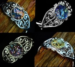 Forget-Me-Not, Bismuth Metal Crystal Sterling Silver Cuff Bracelet, Art ... - $148.00