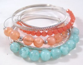 New 7 Piece Wire Bracelet & Textured Bangle Set With Colorful Beads #B1336 - $4.99