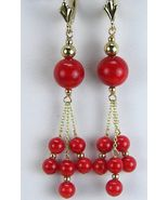 AAA Elegant Red Coral Rounds with Solid 14k Gold Dangle Earrings Top Gem... - $268.65