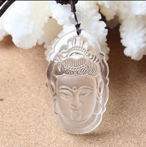 natural white Crystal Hand carved white buddha guanyin pendant - $29.70