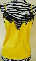 NEW Yellow satin with black lace trim tank by Newport News. Size.2. - $15.00