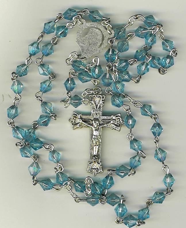 Rosary   plastic blue diamond beads 43 725 12 001
