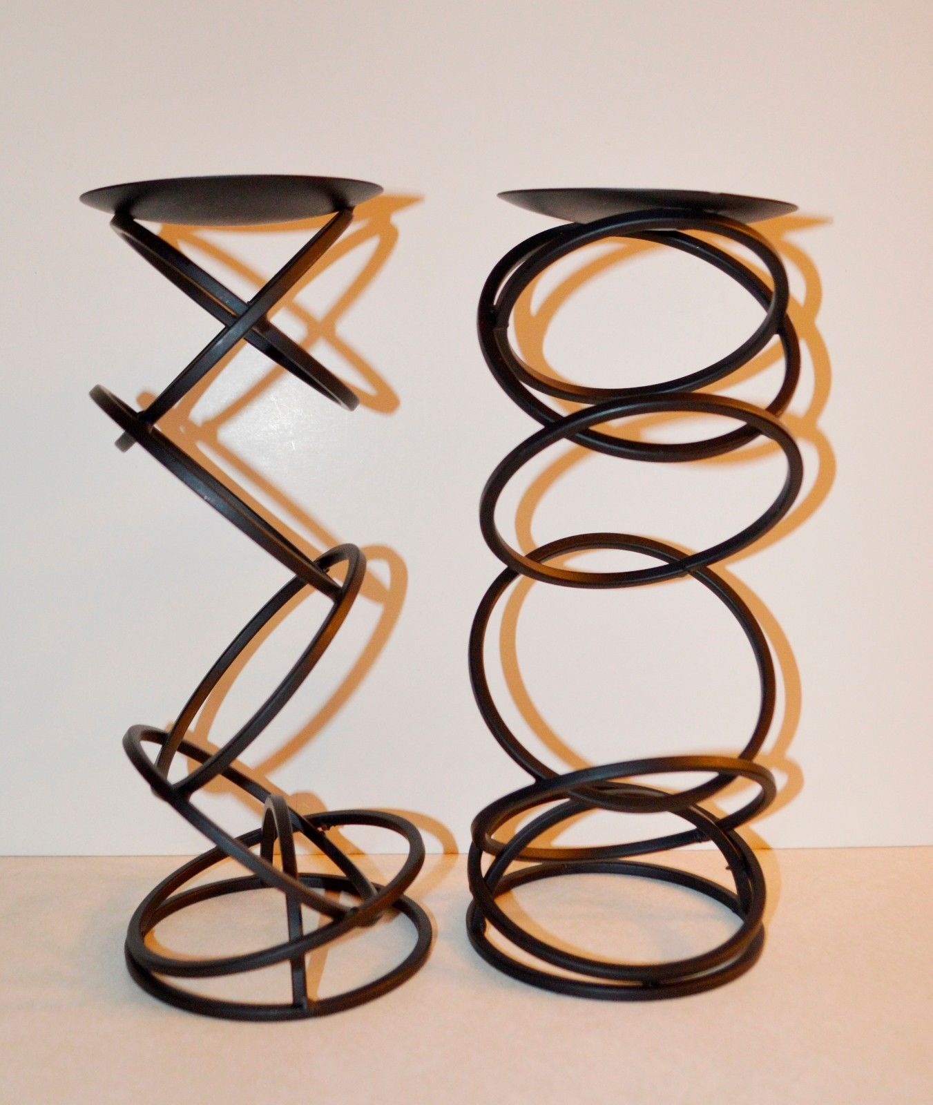 """Two 11"""" Mikasa Ebony Rings Candle Holders."""