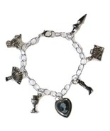Silver Victorian Theme Charm Bracelet with Cameo and Travel Charms - $22.00
