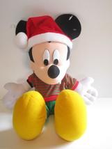 "Disney Mickey Mouse 20"" Christmas Plush w/Santa Hat & Green/Red Striped ... - $16.82"