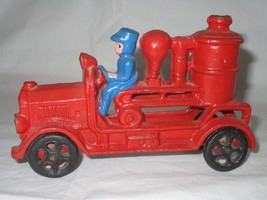 Vintage Cast Iron Toy Fire Fighter Engine Steam... - $44.54