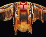 Men Native American Buckskin Tan Buffalo Leather Beaded Powwow War Shirt NA178 - €316,97 EUR