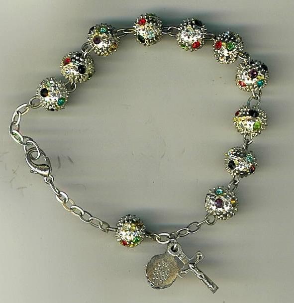 Bracelet rosary   metal round bead b5567 001