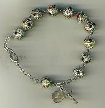Bracelet Rosary - Metal Round Bead image 1
