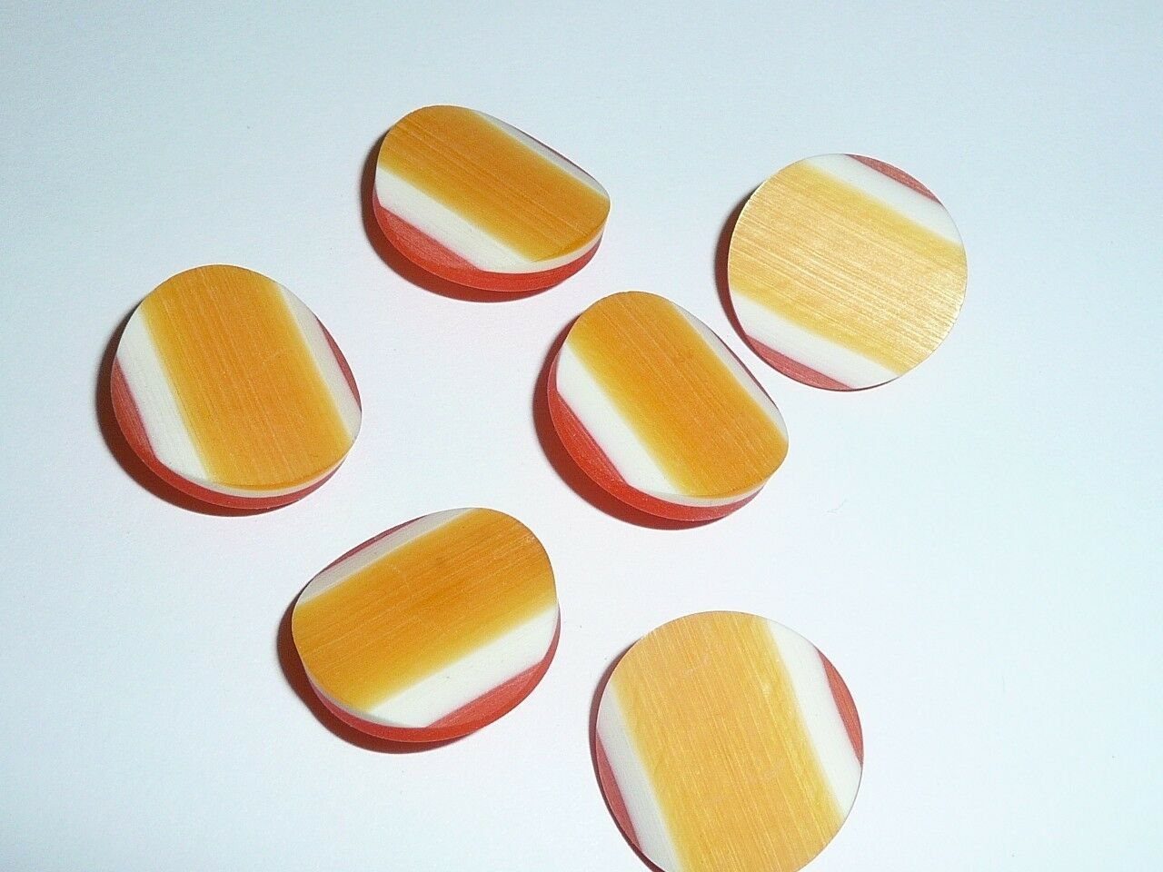 "Primary image for Orange Tri-Color Vintage Plastic Shank Buttons 1"" Diam. Made in Holland Buttons"