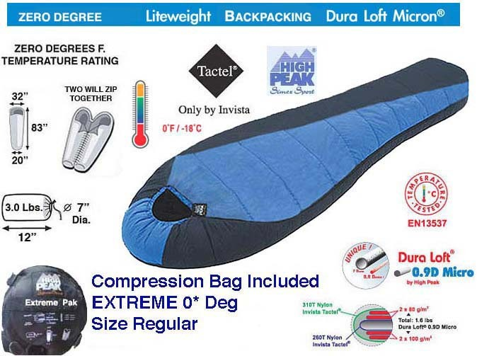 2 EXTREME 0* DEGREE BACKPACKING MUMMY BAGS FREE SHIP BY HIGH PEAK USA