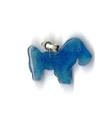 "New Carved Blue Agate Gemstone Scotty Dog Pendant w/ 18"" gold-tone chain - $7.00"