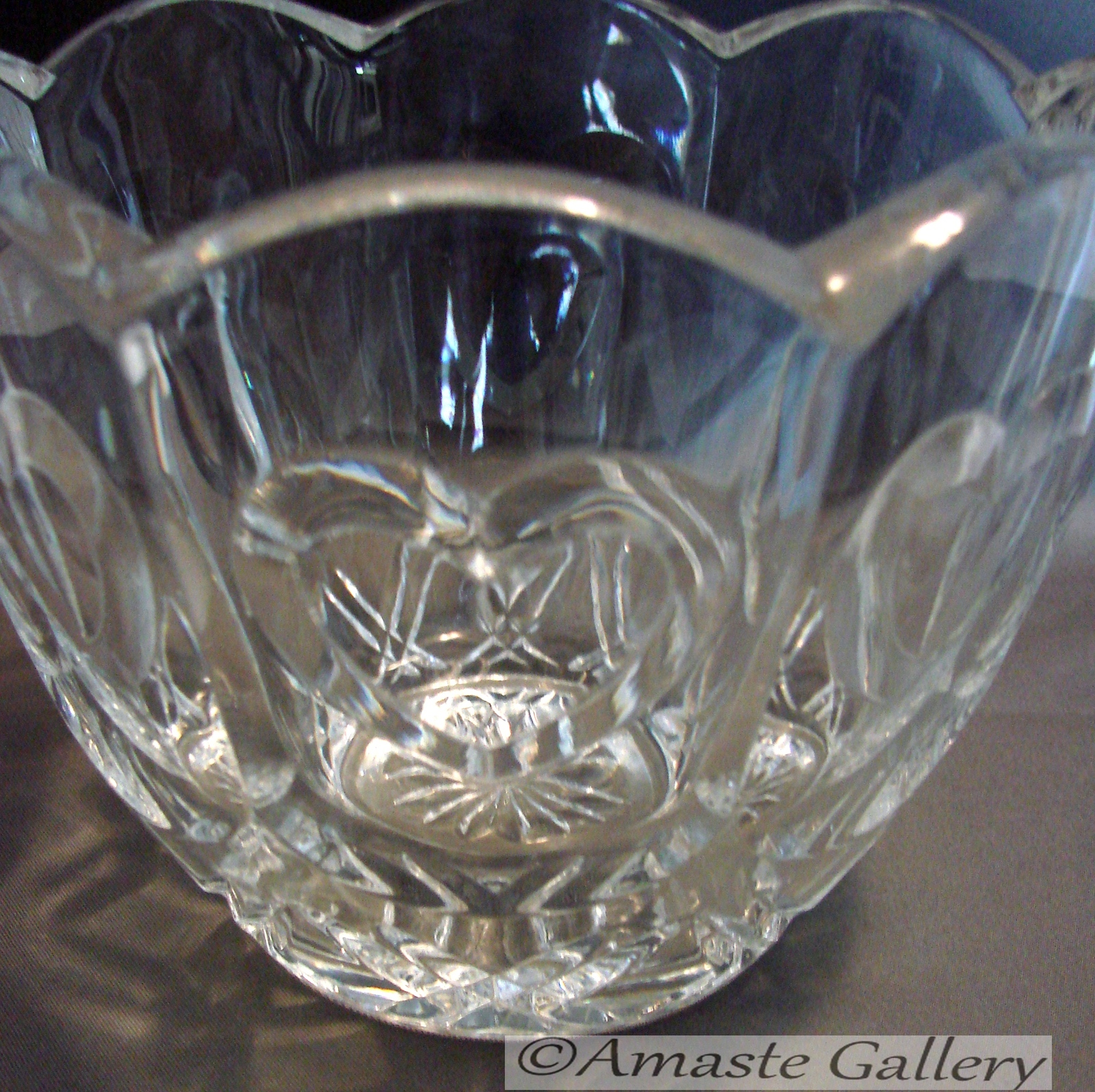 Two Matching Crystal  Hearts Motif Cand/Nut Bowls