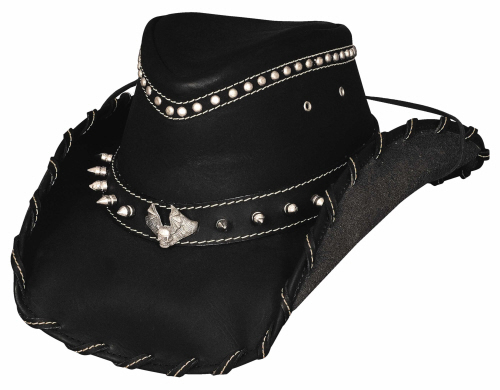 Primary image for Bullhide Iron Road Leather Cowboy Hat Heavy Metal Collection Whipstitched Black