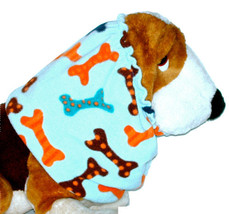 Dog Snood Multicolor Dots Stripes Dog Bones Light Blue Fleece Basset Hou... - $12.50
