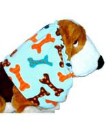 Dog Snood Multicolor Dots Stripes Dog Bones Light Blue Fleece Basset Hou... - $12.50