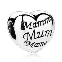 Heart Charm Silver Crystal Beads Pandora Love Mom Authentic Tibetan DIY Jewelry image 9