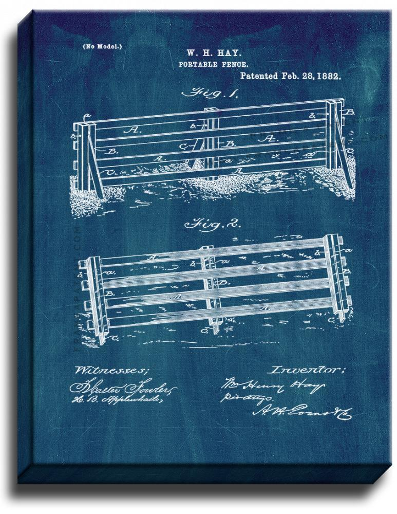 Primary image for Portable Fence Patent Print Midnight Blue on Canvas