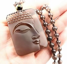 natural ice Obsidian Hand carved black zen buddha good luck pendant  - $17.80