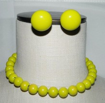 VTG Gold Tone Lime Green Plastic Beaded Choker Necklace Earring Set - $29.70