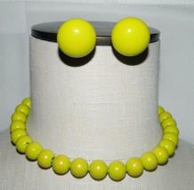 VTG Gold Tone Lime Green Plastic Beaded Choker Necklace Earring Set - $29.70