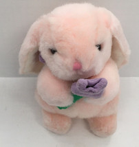 adorable stuffed plush long ear pink bunny with tulip flower Easter decor - $12.87