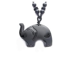 2015 Year natural Obsidian stone Hand carved Elephant good luck charm pendant  - $15.83