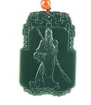 Hand carved natural green jade stone guanyu gift good luck charm pendant - $19.78