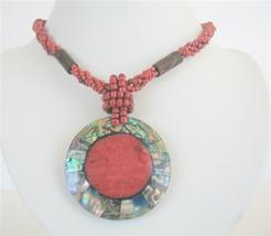 Red Beaded Necklace Button Clasp w/ Abalone Round Pendant Coral Stone - $14.68