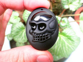 natural Obsidian stone Hand carved Skull head good luck charm pendant  - $16.81