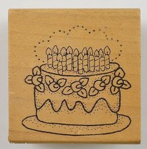 Wood Mounted Rubber Stamp Birthday Cake Collectible Scrapbook Envelope Crafts - $6.99