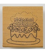 Wood Mounted Rubber Stamp Birthday Cake Collectible Scrapbook Envelope C... - $6.99