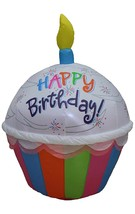 Inflatable Light Up 4 Foot Tall Cute Happy Birthday Cupcake (a) - $197.99