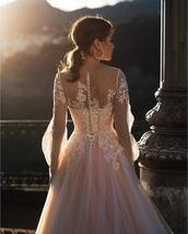 Deluxe A-line Wedding Dress Light Pink Wedding Gowns Elegant Bride Dress With Lo image 3